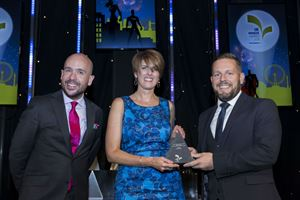 Awards host Tom Allen, PR & Communications Manager at Caravan Guard, Liz Harrison, and award sponsor, Matt Field, of Direct Insurance London Market