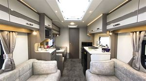 The dining area in the Lunar Clubman ES caravan