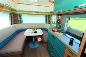 The enormity of the wraparound seating means that this is a caravan ideal for entertaining