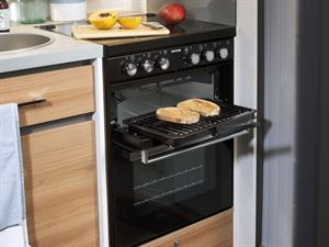 The Adamo range features a Thetford 'K-Series' combined oven, grill and hob