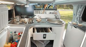 The kitchen area in the Ford Nugget campervan