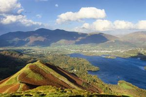 Derwentwater and Keswick as seen from Catbells summit