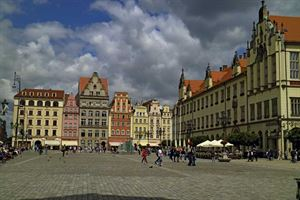 The medieval market square in Wroclaw