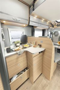 The kitchen in the Dethleffs Trend Edition T 7057 motorhome