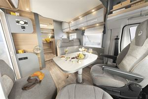 The lounge area in the Dethleffs Trend Edition T 7057 motorhome