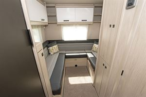 The rear lounge, which converts to a double bed, in the Auto-Trail Tribute F72 motorhome