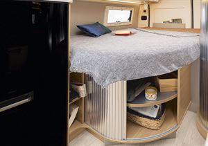 The bed in the Rapido V62 campervan