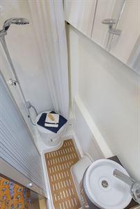 The washroom, with shower, in the Rapido V62 campervan