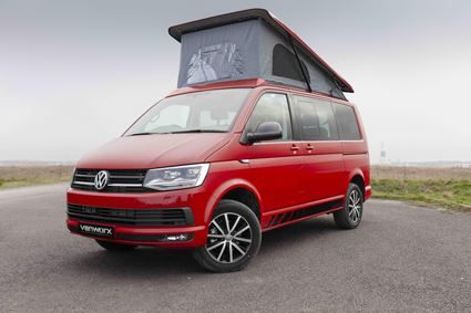 Vanworx Slipper campervan, seen here in Cherry Red, one of the four colour options