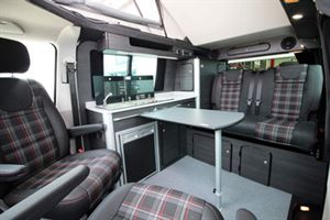 The Vanworx Slipper has the classic rock-n-roll seat, side kitchen layout