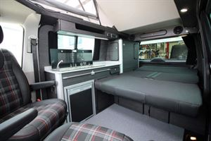 The interior of the new Vanworx T6 Edition Slipper with the bed folded flat