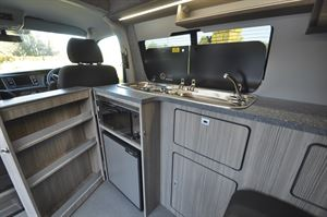 The interior of the Heart of England Velare campervan