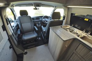 The kitchen in the Heart of England Velare campervan