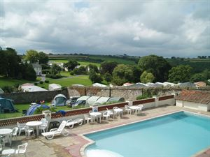The swimming pool and a view over the park at Smytham Holiday Park