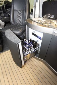 The fridge in the VisionTech 20/20 Vision campervan