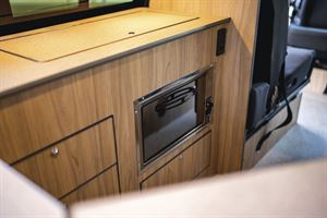 Close up of the kitchen in the Volkspec Leisure Delphi campervan