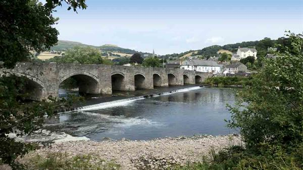 A bridge at Crickhowell with Table Mountain in the background - picture courtesy of Joyce Hopewell