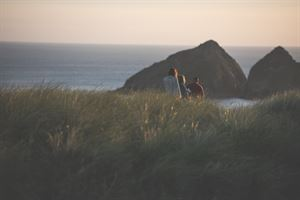 Walk to Holywell Bay through the dunes from Trevornick