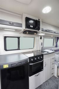 The kitchen in the Auto-Sleeper Warwick Duo motorhome
