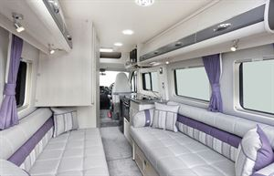 The lounge, from front to back, in the Auto-Sleeper Warwick Duo motorhome