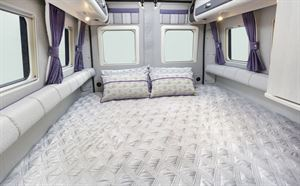 The double bed in the Auto-Sleeper Warwick Duo motorhome