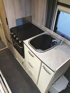 The kitchen in the WildAx Aurora campervan