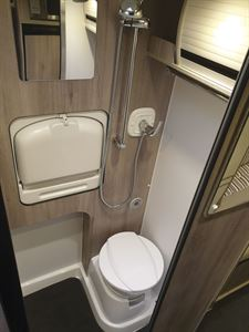 The washroom in the WildAx Aurora campervan