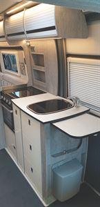 The kitchen in the WildAx Europa campervan
