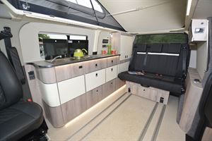 The interior of the WildAx Proteus campervan