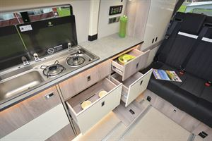 The kitchen in the WildAx Proteus campervan