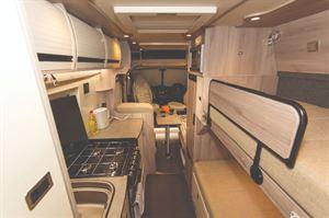 WildAx Solaris Motorhome interior with Bunk Beds