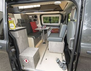A view inside the WildAx Triton campervan