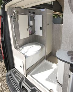 The washroom in the WildAx Triton campervan