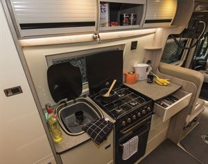 The kitchen in the Wildax Solaris XL campervan