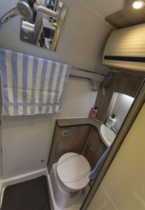 The washroom in the Wildax Solaris XL campervan