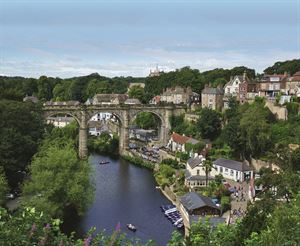 Looking down on the River Nidd gorge and the Knaresborough viaduct