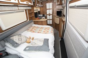 The bed in the in the IH 680 CFL campervan