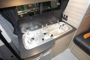 Close up of the kitchen in the Rolling Homes Expedition campervan