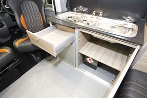 Drawer and cupboard storage in the Rolling Homes Expedition campervan