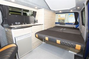The fold down bed in the Rolling Homes Expedition campervan