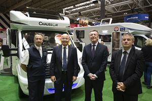 L to R – Shane Catterick (Sales Manager) and Tony Chamberlain (owner), TC Motorhomes, then Jeff Kenrick (Commercial Director UK) and Pascal Lidome (Export Sales Manager) from Chausson