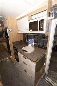 The kitchen in the Bailey Autograph 81-6 motorhome