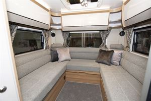 The rear U-shaped lounge in the Bailey Autograph 81-6 motorhome