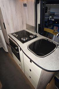 The kitchen in the WildAx Elara campervan