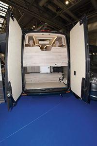 Rear doors open in the WildAx Elara campervan