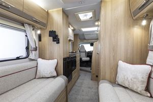 Looking through the Elddis Marquis Majestic 135 motorhome, from rear to front