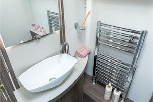 The towel rail next to the basin