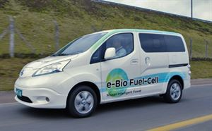 The Nissan fuel cell powering an electric car