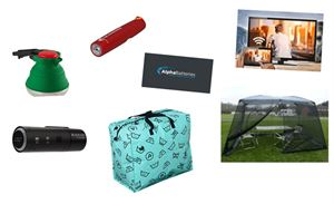 An assortment of motorhome accessories at Black Friday special prices