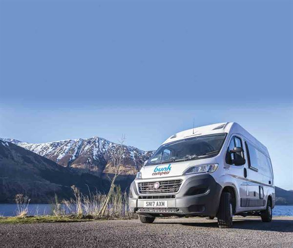 Bunk Campers have a number of campervan hire locations in the UK - picture courtesy of Bunk Campers